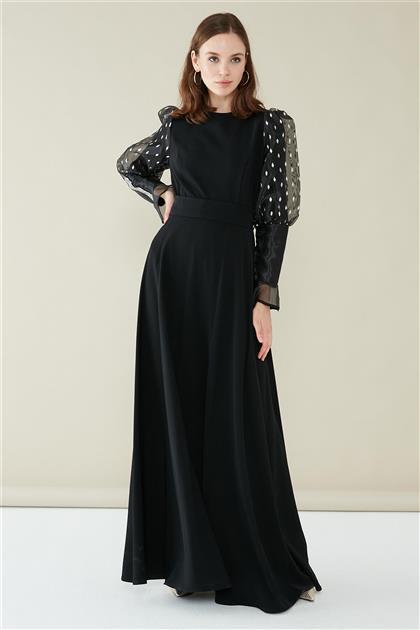 ZÜHRE Taş Yapıştırma Detaylı Elbise Siyah/Gümüş E-0122 Z20YB0122YL1001-R3081