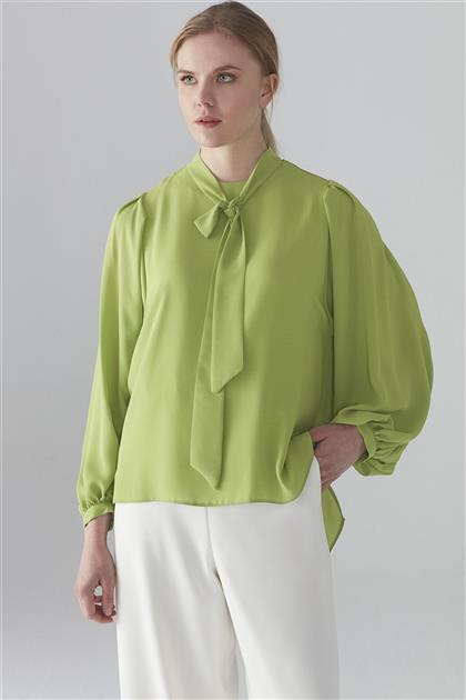 ZÜHRE Yaka Fular Detaylı Bluz Yeşil B-0045 Z20YB0045BLZ101-R1294