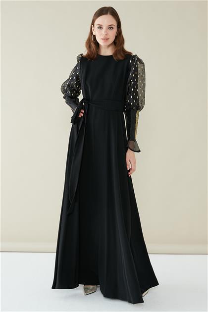 ZÜHRE Taş Yapıştırma Detaylı Elbise Siyah/Gold E-0122 Z20YB0122YL1001-R4015