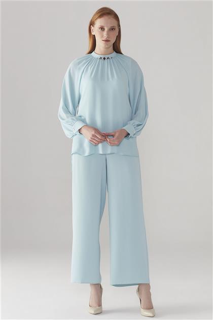 ZÜHRE Yaka İşleme Detaylı Bluz Mavi B-0050 Z20YB0050BLZ101-R1171