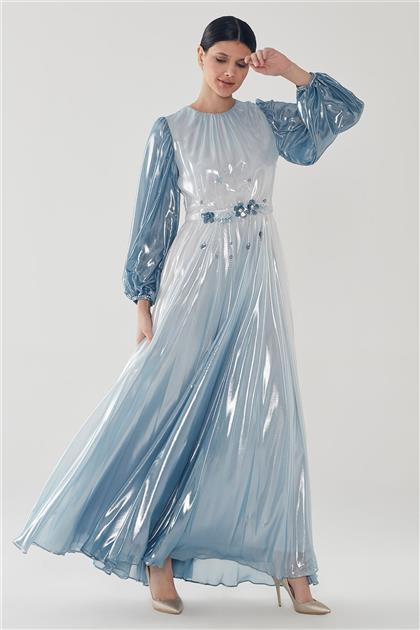 ZÜHRE Çiçek İşleme Detaylı Elbise Mavi E-0110 Z20YB0110ELB101-R1171