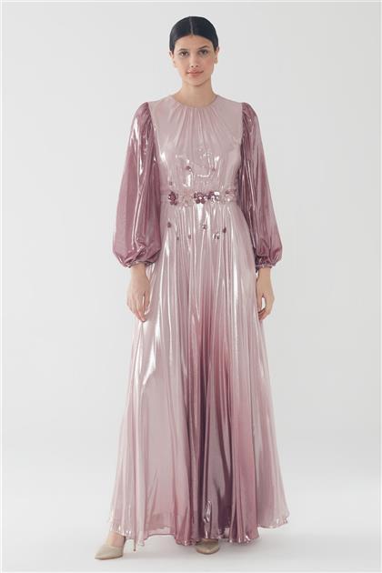 ZÜHRE Çiçek İşleme Detaylı Elbise Pudra E-0110 Z20YB0110ELB101-R1204