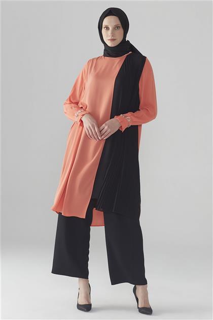 ZÜHRE Önü Pile Detaylı Tunik Oranj-Siyah T-0737 Z20YB0737TN1001-R3072