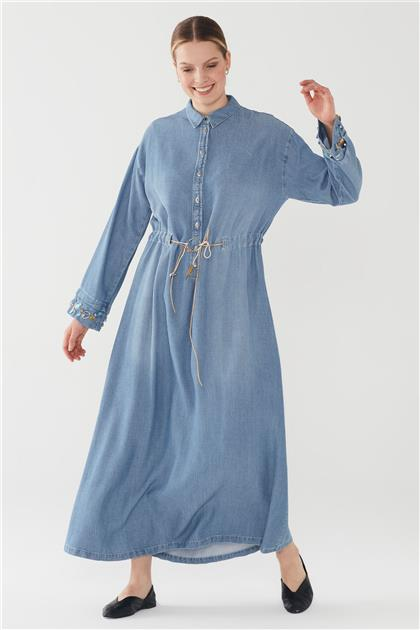 ZÜHRE Kol İşleme Detaylı Kemerli Elbise Mavi E-0116 Z20YB0116ELB101-R1171