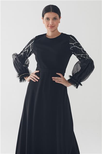 ZÜHRE Işıltılı Balon Kol Elbise Siyah-Gümüş E-0127 Z20YB0127ELB101-R3081