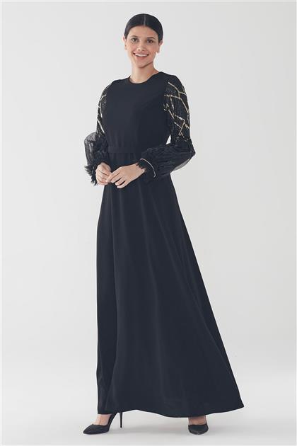 ZÜHRE Işıltılı Balon Kol Elbise Siyah-Gold E-0127 Z20YB0127ELB101-R4015