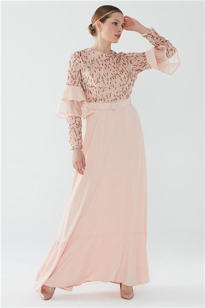 ZÜHRE Taşlı Tokalı Kemerli Elbise Pudra E-0128 Z20YB0128ELB101-R1204