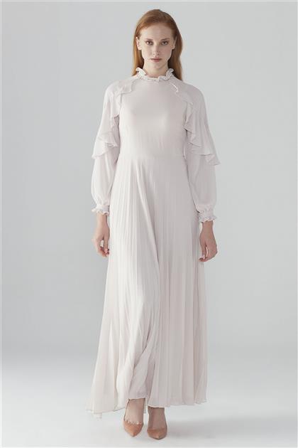 ZÜHRE Kol Volan Detaylı Elbise Bej E-0105 Z20YB0105ELB101-R1041