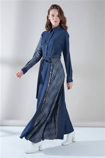 ZÜHRE Önden Çıtçıt Detaylı Elbise İndigo E-0176 Z20KBE-0176ELB1001-R1100