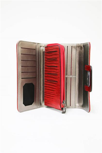 ZÜHRE Kırmızı Renk Lazer Kesim Kadın Cüzdanı C0009 Z20YB0009CZD101-R1143