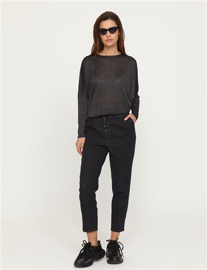Dar Paça Denim Pantolon Siyah B21 19078A