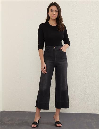 Eskitme Yıkamalı Denim Pantolon Siyah B21 19077A