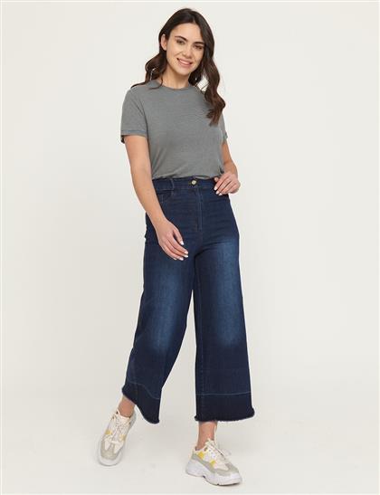Eskitme Yıkamalı Denim Pantolon Lacivert B21 19077A