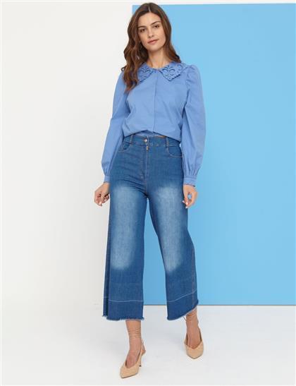 Eskitme Yıkamalı Denim Pantolon Mavi B21 19077A