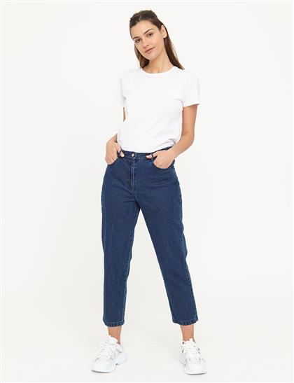 Basic Mom Jeans Lacivert B21 19079A