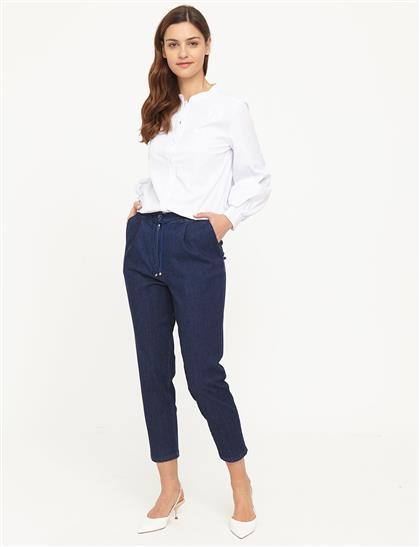 Dar Paça Denim Pantolon Lacivert B21 19078A