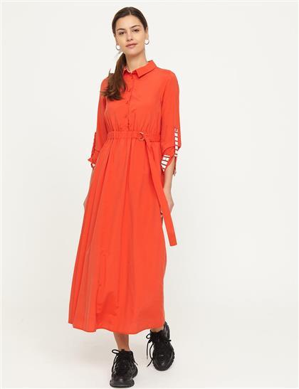 KYR Gömlek Yaka Dökümlü Elbise Kırmızı B21 83007