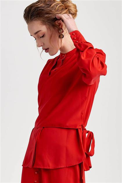 Bağlama Bluz Detaylı Etekli Kırmızı Takım V20YTKM43042