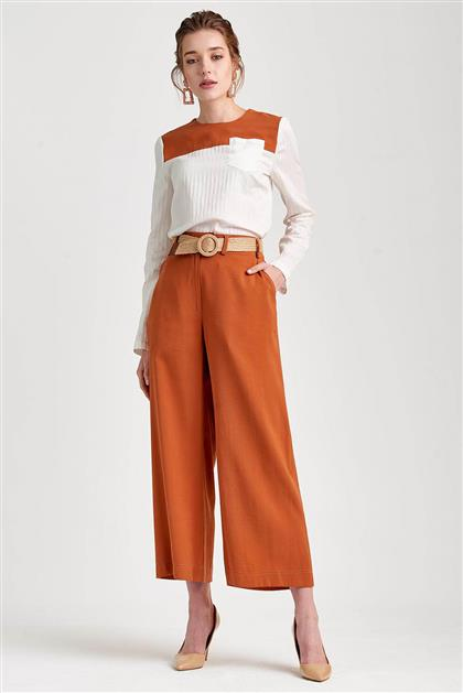 Hasır Kemer Detaylı Kiremit Pantolon V20YPNT35007