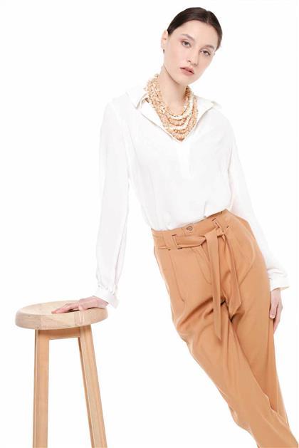 Kemer Detaylı Duble Paça Taba Renk Pantolon V20YPNT35011