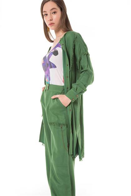 Zincir Aksesuarlı Yeşil Spor Pantolon V20YPNT35003
