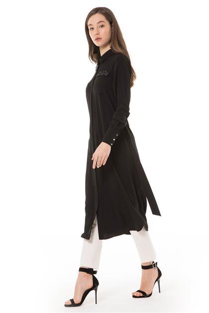 Yıldız Aksesuarlı Uzun Siyah Tunik V20YTNK45043