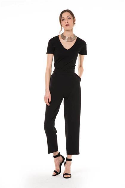 Kemer Detaylı Bilek Boy Siyah Pantolon V20YPNT35013
