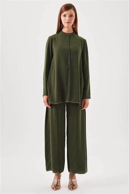 Zincir İşlemeli Tunik Pantolon Haki İkili Takım V20YTKM43030