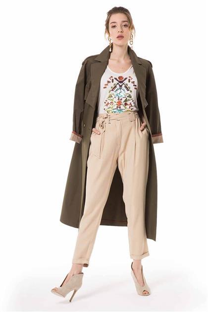Kemer Detaylı Duble Paça Bej Renk Pantolon V20YPNT35011