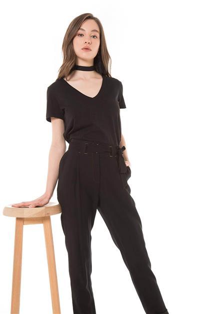 Kemer Detaylı Duble Paça Siyah Pantolon V20YPNT35011