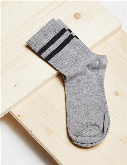Çizgili Çorap B21 CRP01 Gri