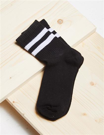 Çizgili Çorap B21 CRP01 Siyah