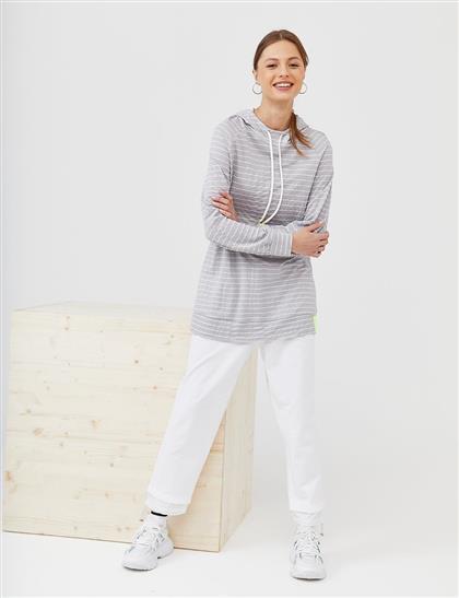 Kapüşonlu Çizgili Sweatshirt Gri B21 31005