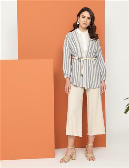 Keten Kimono Ceket Mavi-Ekru B21 13013