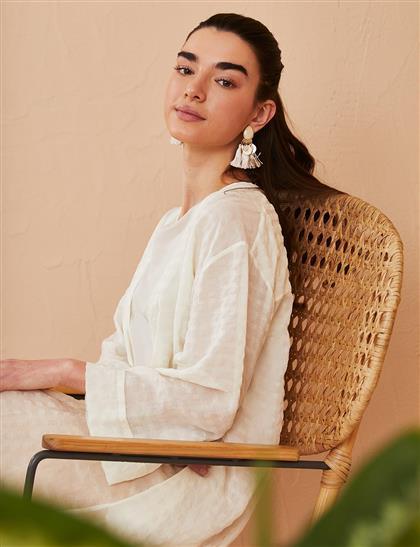 Kuşaklı Uzun Kimono Beyaz B21 25015
