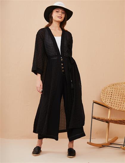 Kuşaklı Uzun Kimono Siyah B21 25015