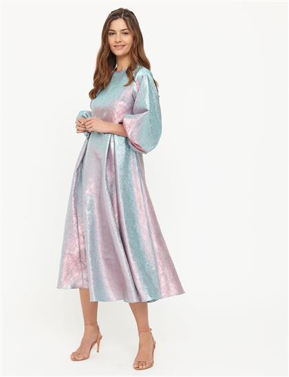Jakarlı Balon Kol Elbise Pembe B21 23041