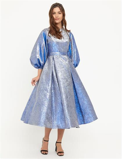Jakarlı Balon Kol Elbise Lacivert B21 23041