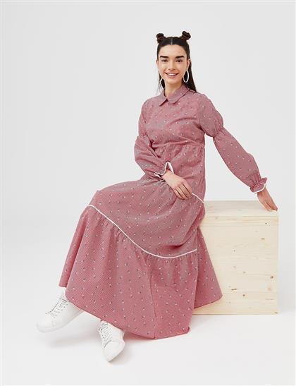 KYR Gigot Kol Dökümlü Elbise Kırmızı B21 83023