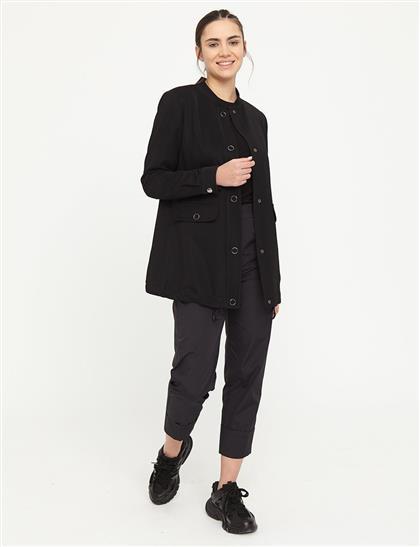 Çıt Çıt Kapamalı Dik Yaka Ceket Siyah B21 13010