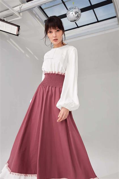 Poplin Bedenli Visolin Kadın Elbise Eflatun V21YELB17035