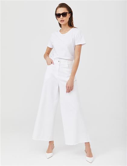 Püskül Detaylı Bol Paça Denim Pantolon Beyaz B21 19083