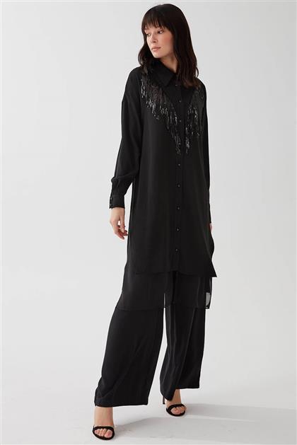 Payet Detaylı İkili Kadın Takım Siyah V20YTKM43045