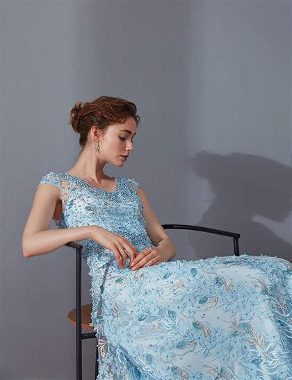 TIARA İnci Süslemeli Derin V Yaka Abiye Buz Mavisi B9 26012