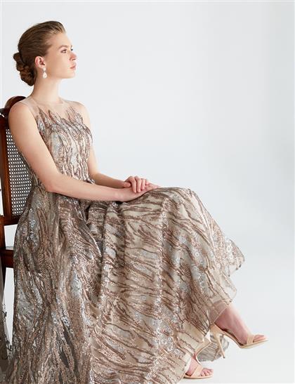 TIARA İllüzyon Yaka Kolsuz Payetli Uzun Abiye Elbise Gümüş B9 26013
