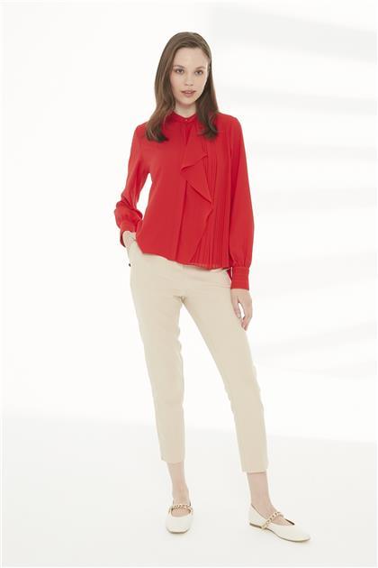 ZÜHRE Pileli Detaylı Kırmızı Bluz B-0060 Z21YBB-0060BLZ1001-R1143