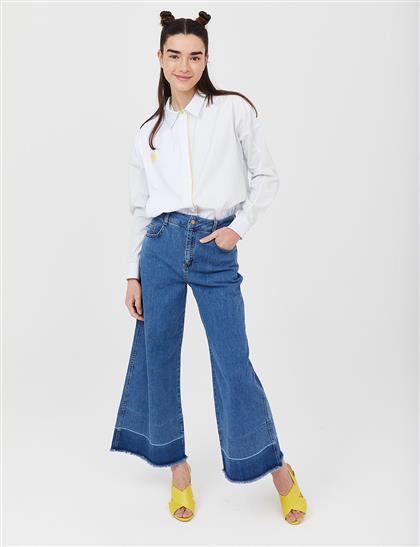 Geniş Paça Denim Pantolon Mavi B21 19077