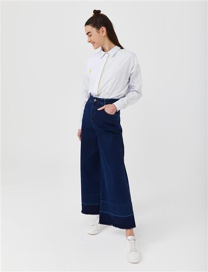 Geniş Paça Denim Pantolon Lacivert B21 19077
