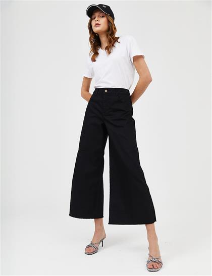 Geniş Paça Denim Pantolon Siyah B21 19077