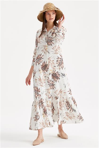 Düğmeli Desenli Elbise 1204